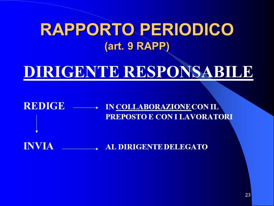 RAPPORTO PERIODICO (art. 9 RAPP)