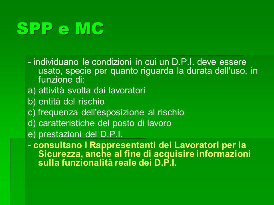 SPP e MC - individuano le condizioni in cui un D.P.I. deve essere usato, specie per quanto riguarda la durata dell uso, in funzione di: