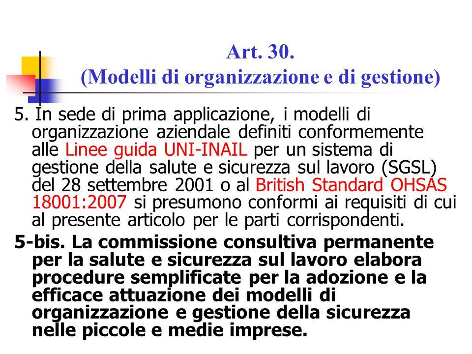 Art. 30. (Modelli di organizzazione e di gestione)