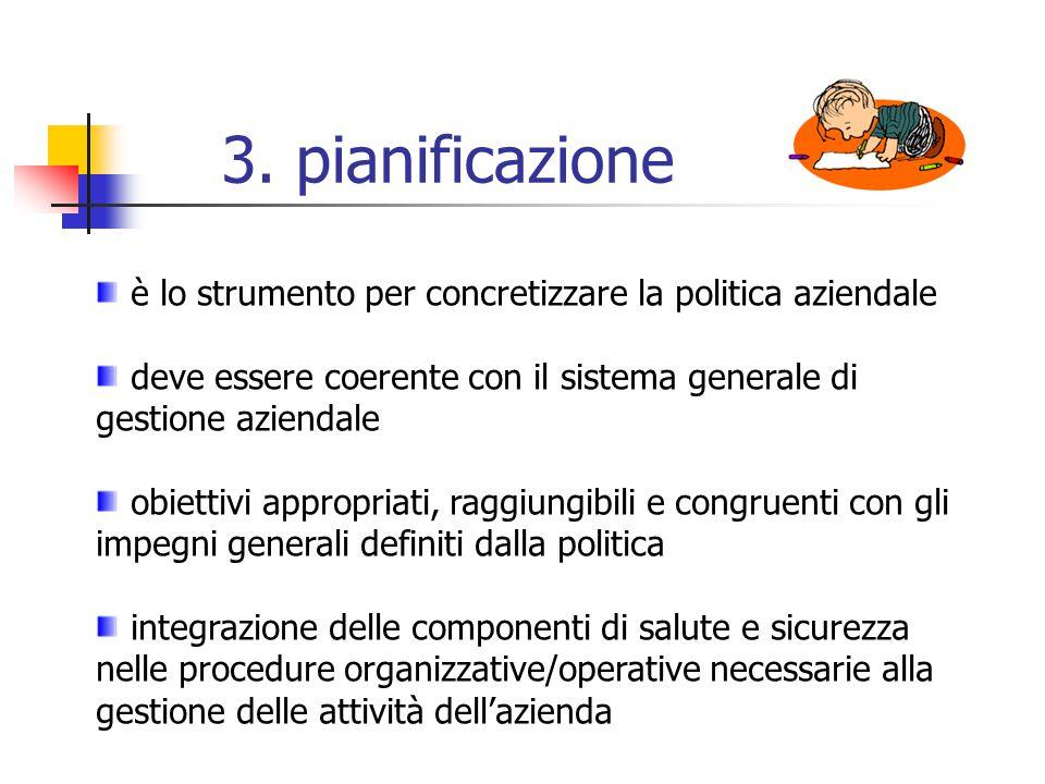 3. pianificazione è lo strumento per concretizzare la politica aziendale. deve essere coerente con il sistema generale di gestione aziendale.