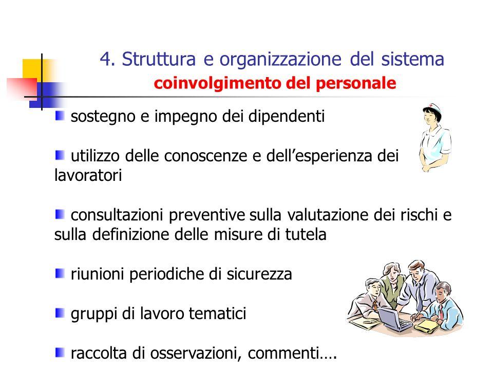 4. Struttura e organizzazione del sistema coinvolgimento del personale