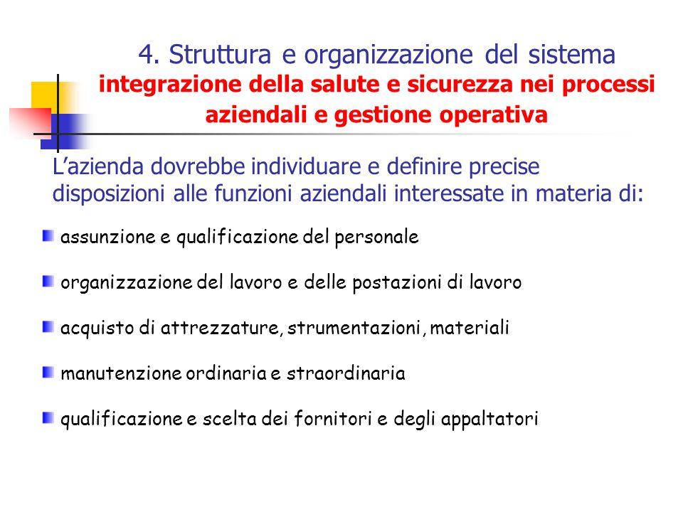 4. Struttura e organizzazione del sistema integrazione della salute e sicurezza nei processi aziendali e gestione operativa
