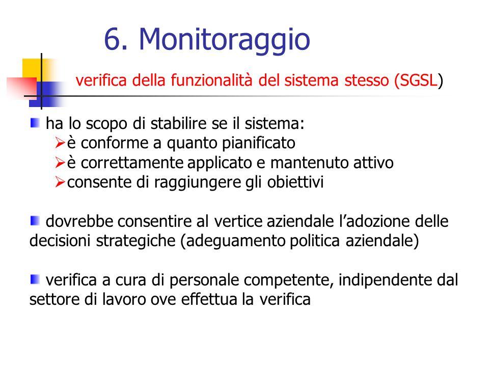 6. Monitoraggio verifica della funzionalità del sistema stesso (SGSL)
