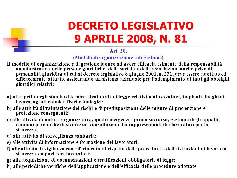 DECRETO LEGISLATIVO 9 APRILE 2008, N. 81
