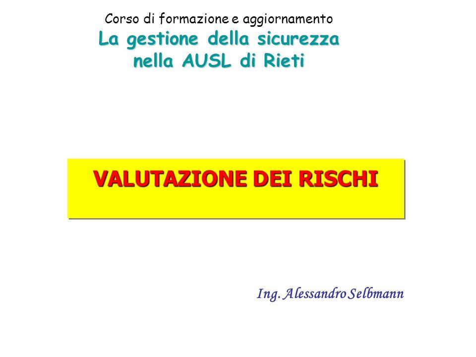 VALUTAZIONE DEI RISCHI Ing. Alessandro Selbmann