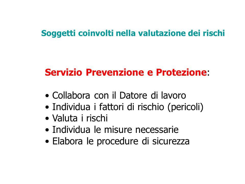 Servizio Prevenzione e Protezione: Collabora con il Datore di lavoro