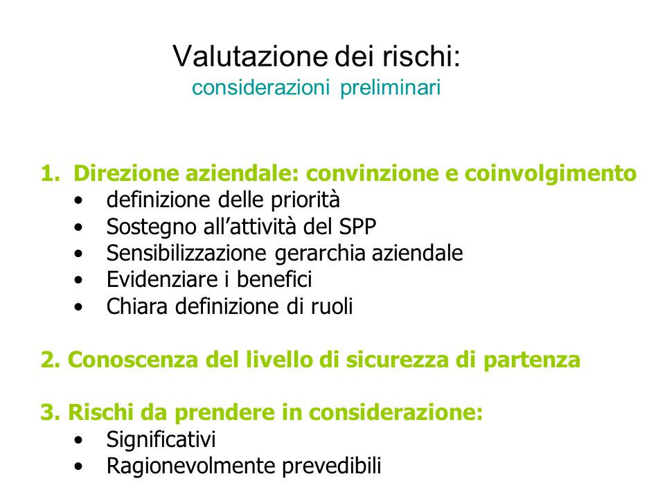 Valutazione dei rischi: considerazioni preliminari