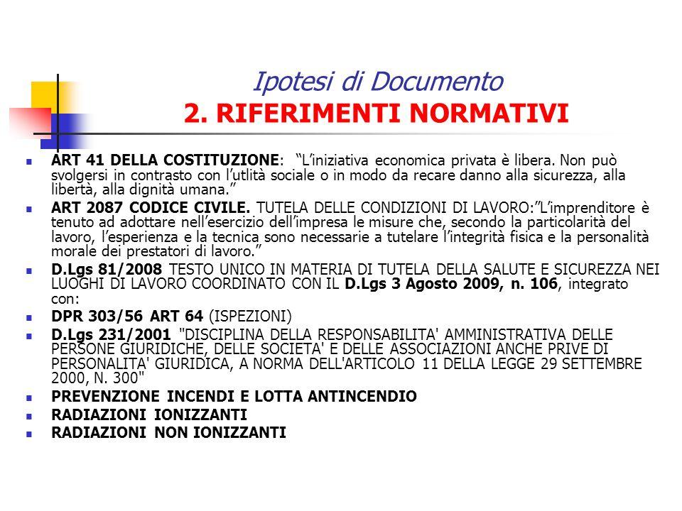Ipotesi di Documento 2. RIFERIMENTI NORMATIVI