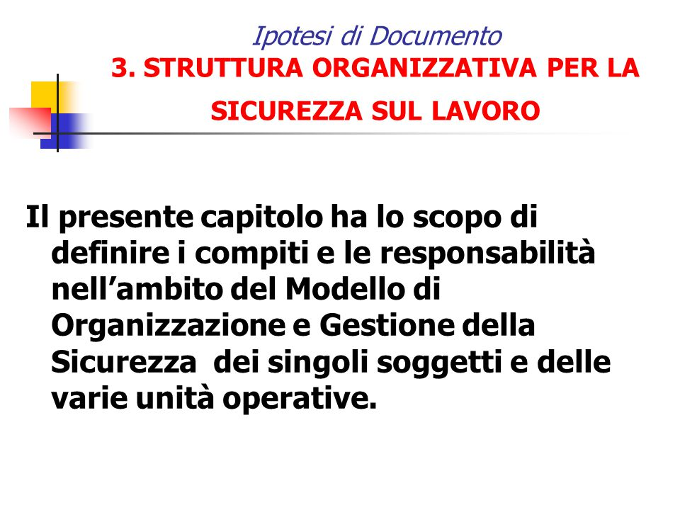 Ipotesi di Documento 3. STRUTTURA ORGANIZZATIVA PER LA SICUREZZA SUL LAVORO