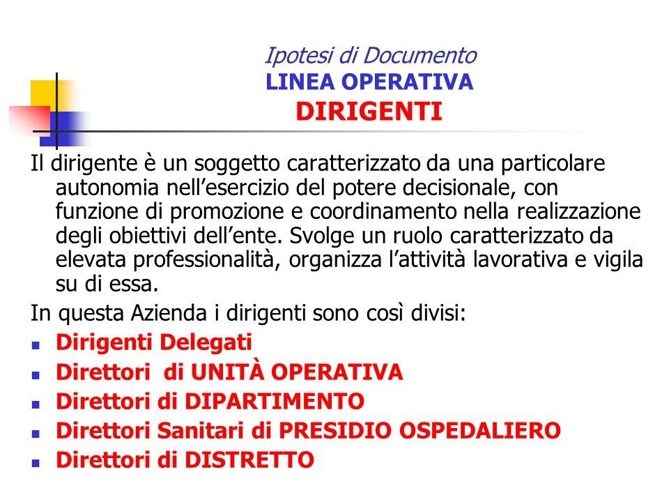 Ipotesi di Documento LINEA OPERATIVA DIRIGENTI