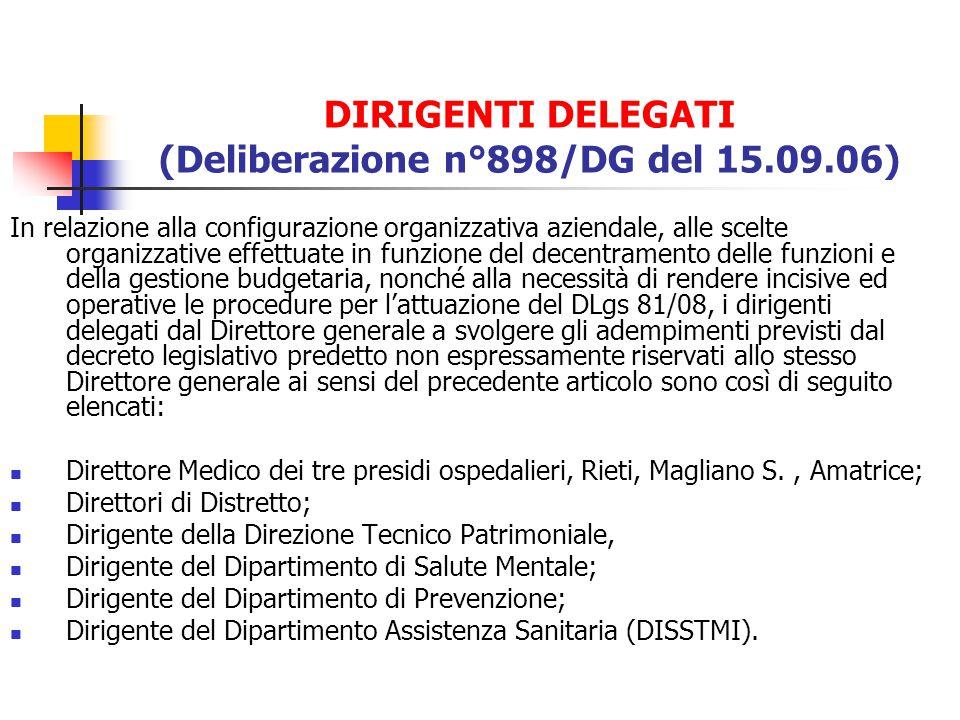 DIRIGENTI DELEGATI (Deliberazione n°898/DG del 15.09.06)