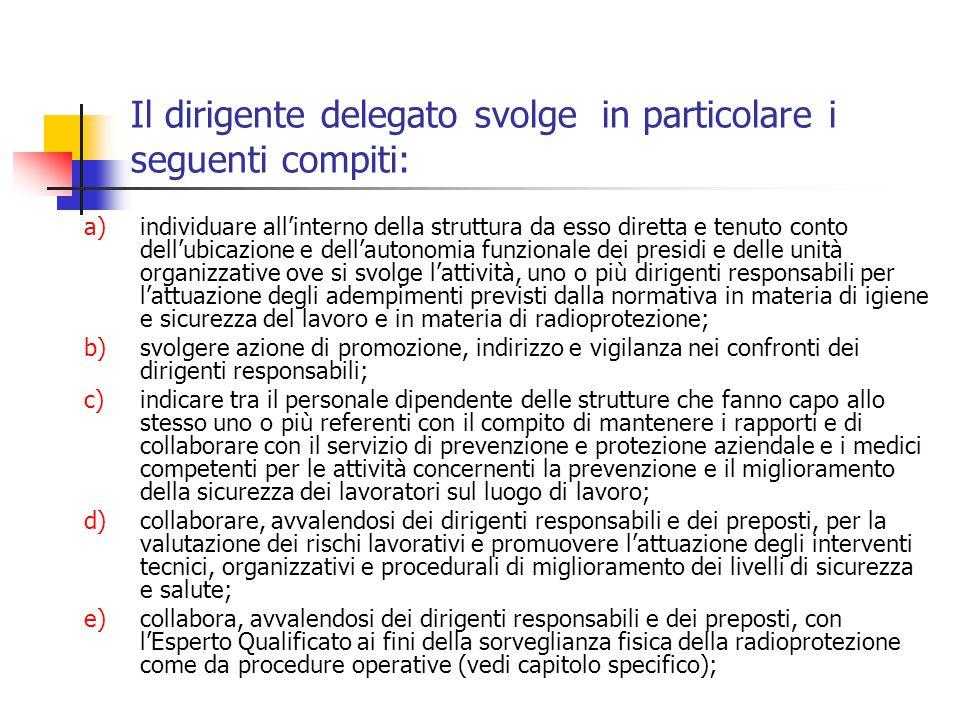 Il dirigente delegato svolge in particolare i seguenti compiti: