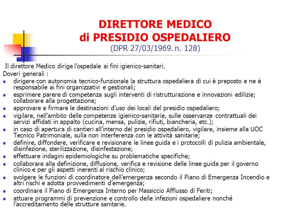 DIRETTORE MEDICO di PRESIDIO OSPEDALIERO (DPR 27/03/1969. n. 128)