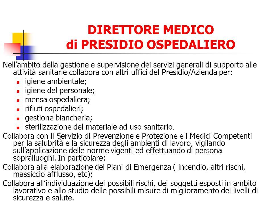 DIRETTORE MEDICO di PRESIDIO OSPEDALIERO