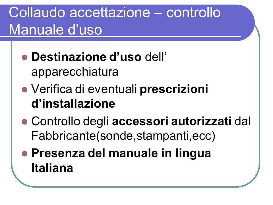Collaudo accettazione – controllo Manuale d'uso