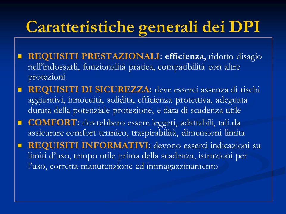 Caratteristiche generali dei DPI