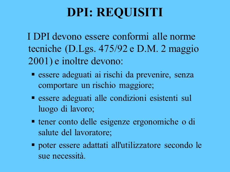 DPI: REQUISITI I DPI devono essere conformi alle norme tecniche (D.Lgs. 475/92 e D.M. 2 maggio 2001) e inoltre devono: