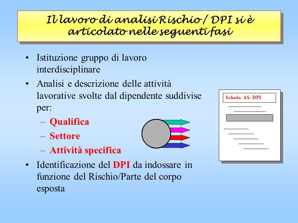 Il lavoro di analisi Rischio / DPI si è articolato nelle seguenti fasi