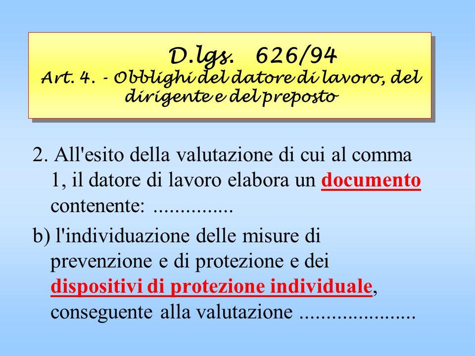 D.lgs. 626/94 Art. 4. - Obblighi del datore di lavoro, del dirigente e del preposto