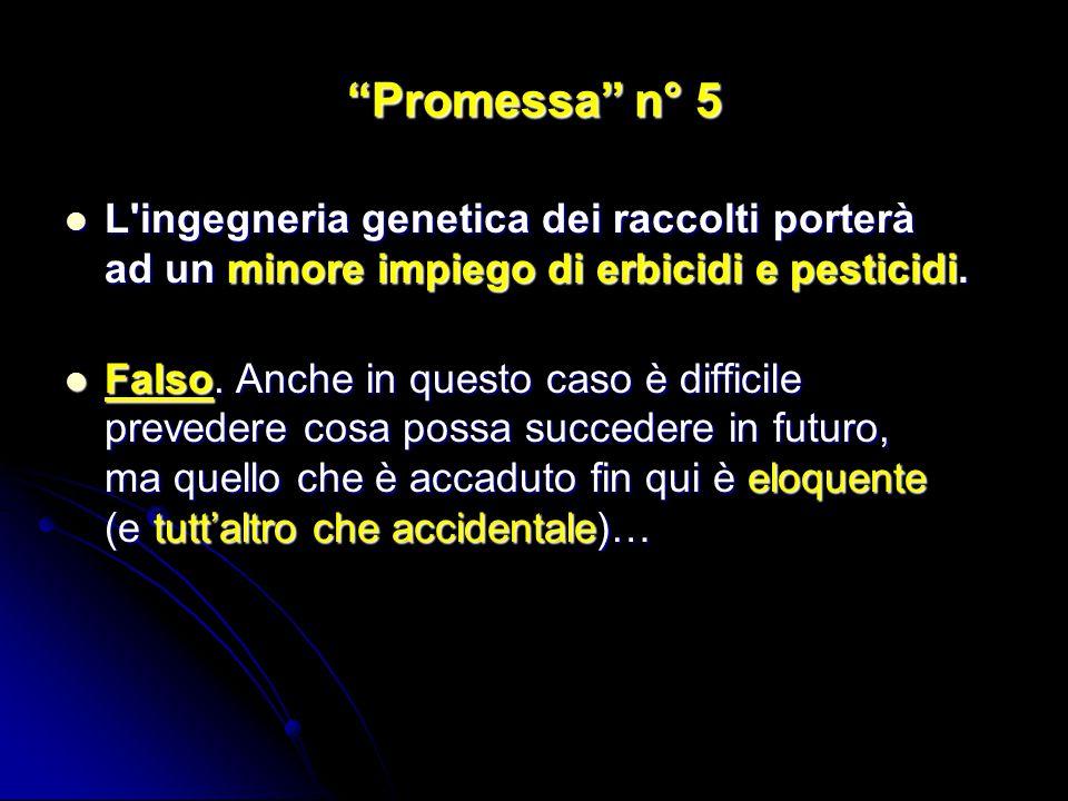 Promessa n° 5 L ingegneria genetica dei raccolti porterà ad un minore impiego di erbicidi e pesticidi.
