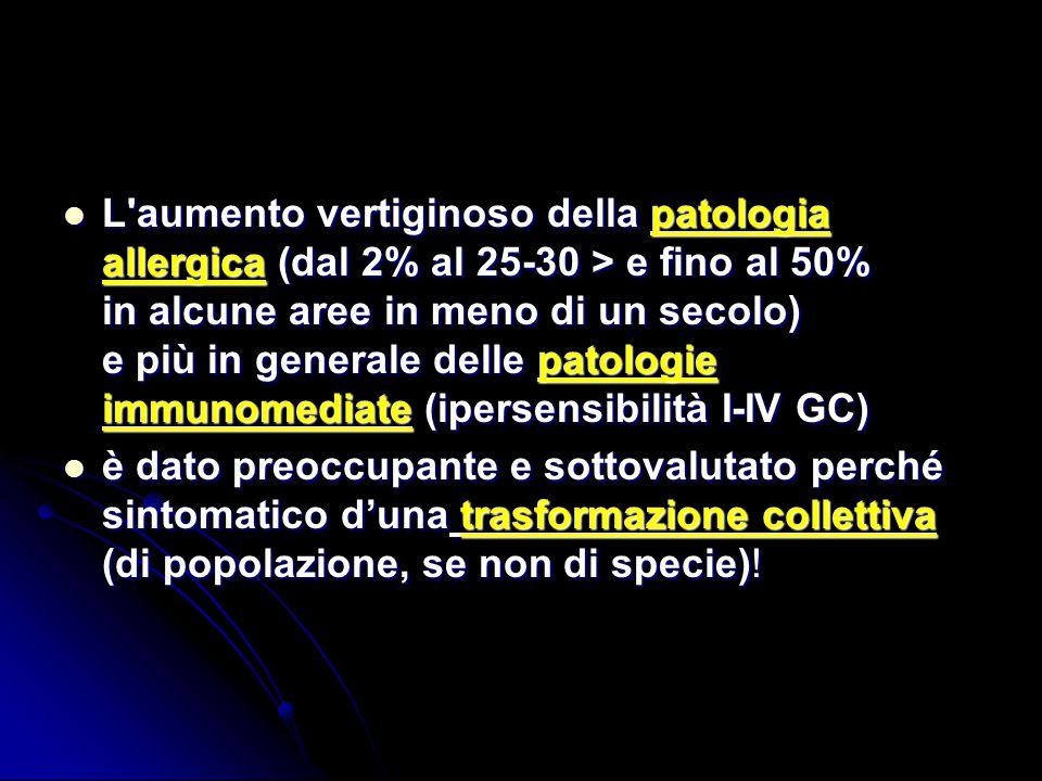 L aumento vertiginoso della patologia allergica (dal 2% al 25-30 > e fino al 50% in alcune aree in meno di un secolo) e più in generale delle patologie immunomediate (ipersensibilità I-IV GC)