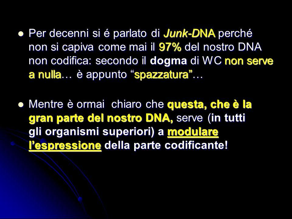Per decenni si é parlato di Junk-DNA perché non si capiva come mai il 97% del nostro DNA non codifica: secondo il dogma di WC non serve a nulla… è appunto spazzatura …