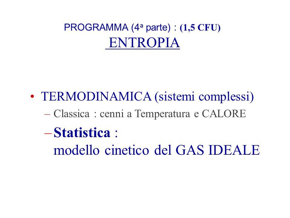 PROGRAMMA (4a parte) : (1,5 CFU) ENTROPIA