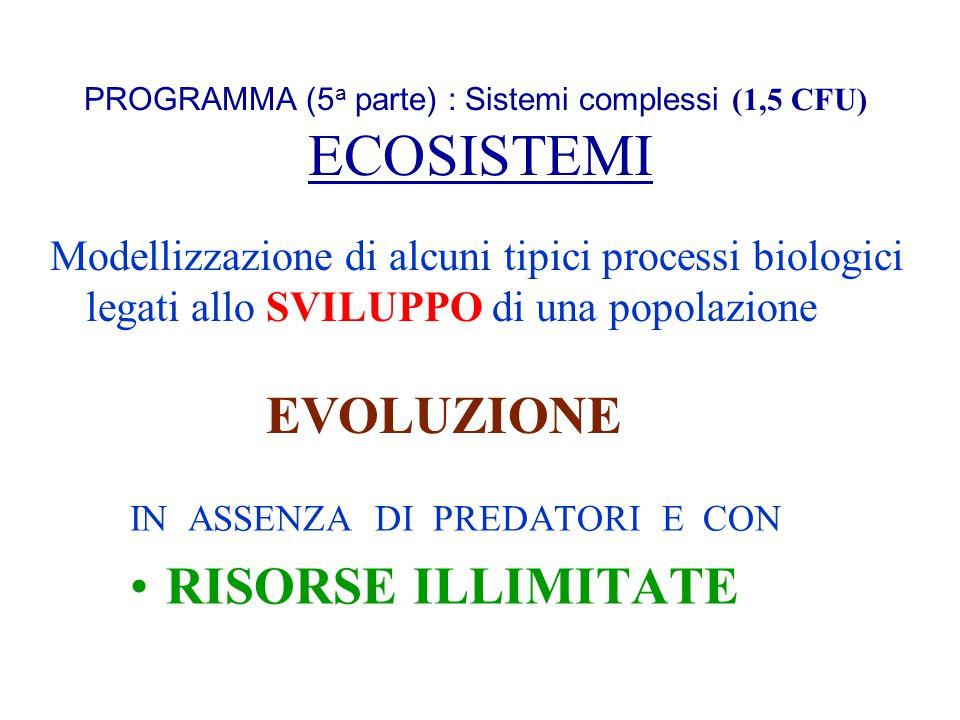 PROGRAMMA (5a parte) : Sistemi complessi (1,5 CFU) ECOSISTEMI