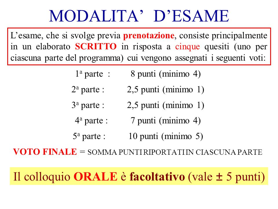 MODALITA' D'ESAME Il colloquio ORALE è facoltativo (vale ± 5 punti)