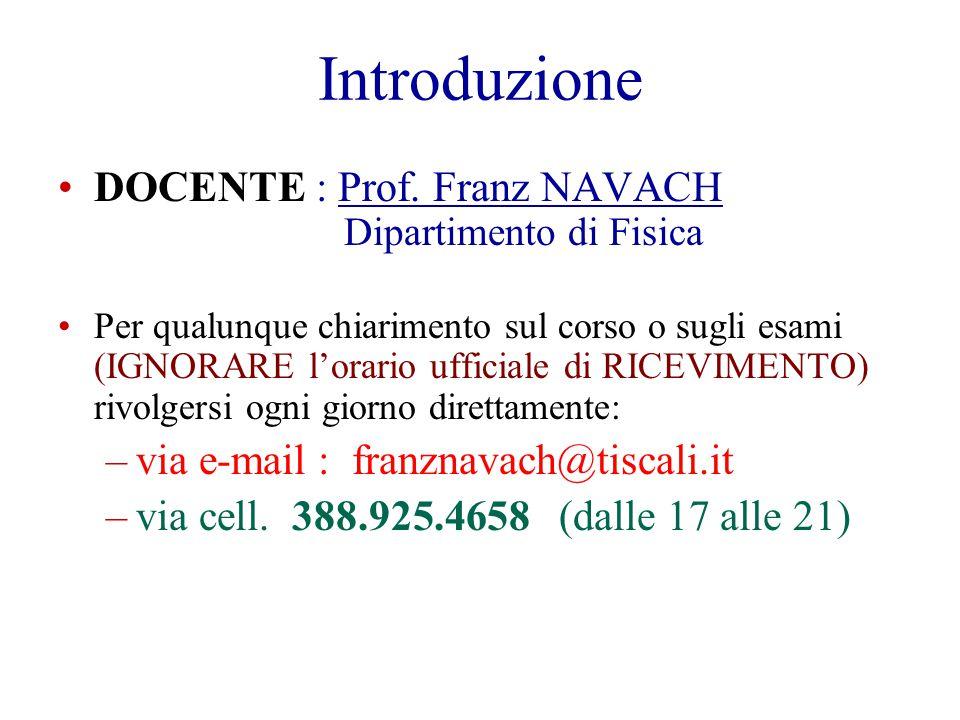 Introduzione DOCENTE : Prof. Franz NAVACH Dipartimento di Fisica