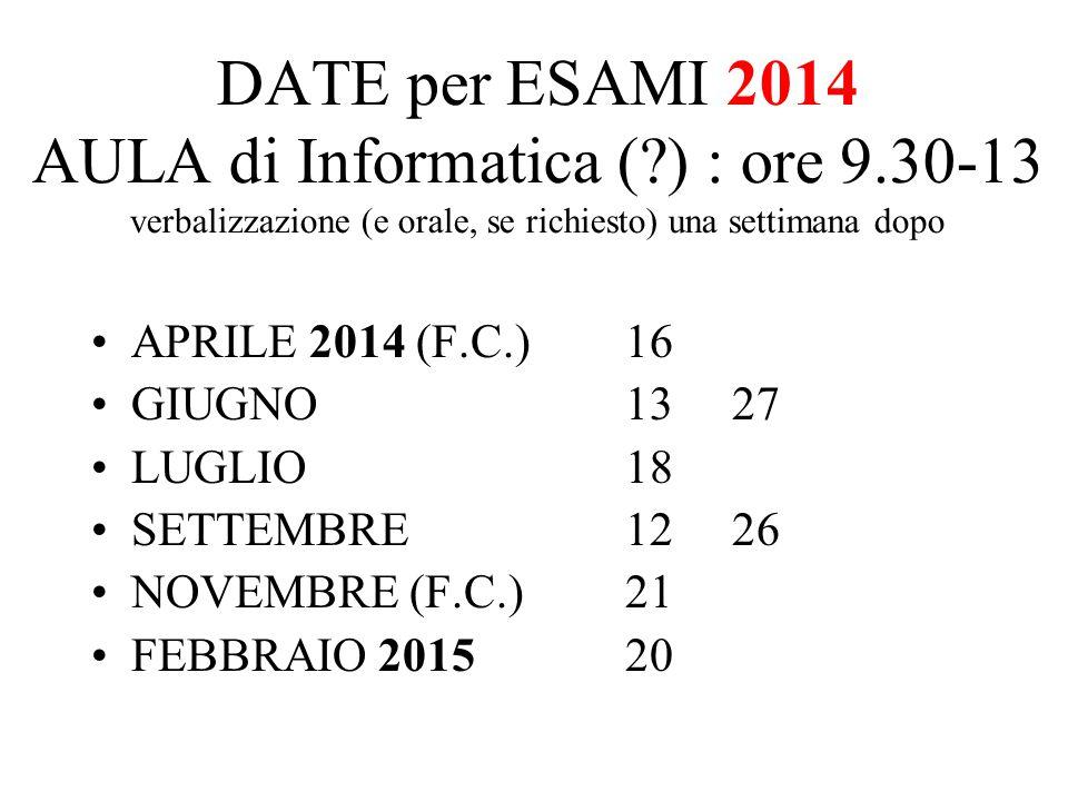 DATE per ESAMI 2014 AULA di Informatica (. ) : ore 9
