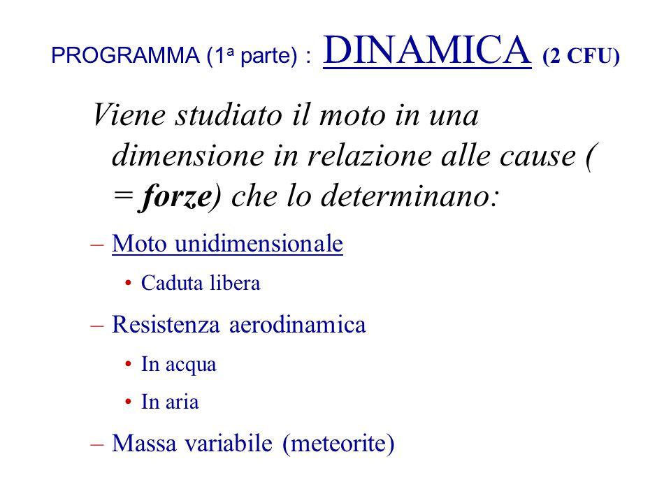 PROGRAMMA (1a parte) : DINAMICA (2 CFU)