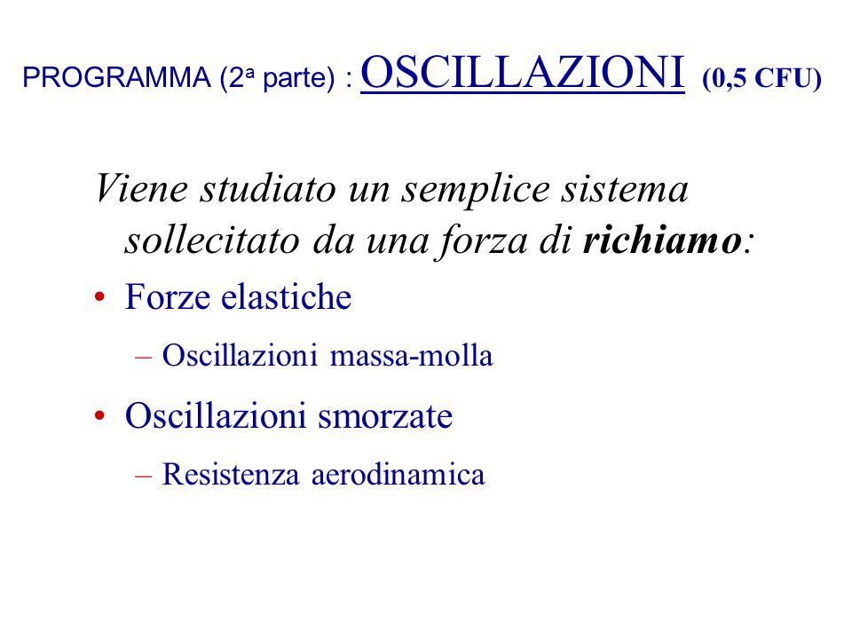 PROGRAMMA (2a parte) : OSCILLAZIONI (0,5 CFU)