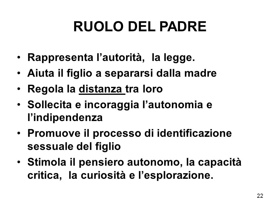 RUOLO DEL PADRE Rappresenta l'autorità, la legge.
