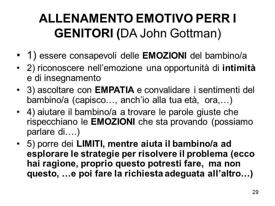 ALLENAMENTO EMOTIVO PERR I GENITORI (DA John Gottman)