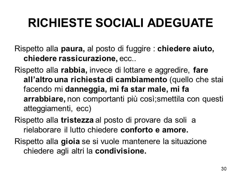 RICHIESTE SOCIALI ADEGUATE