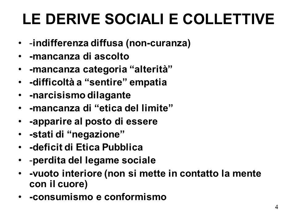 LE DERIVE SOCIALI E COLLETTIVE