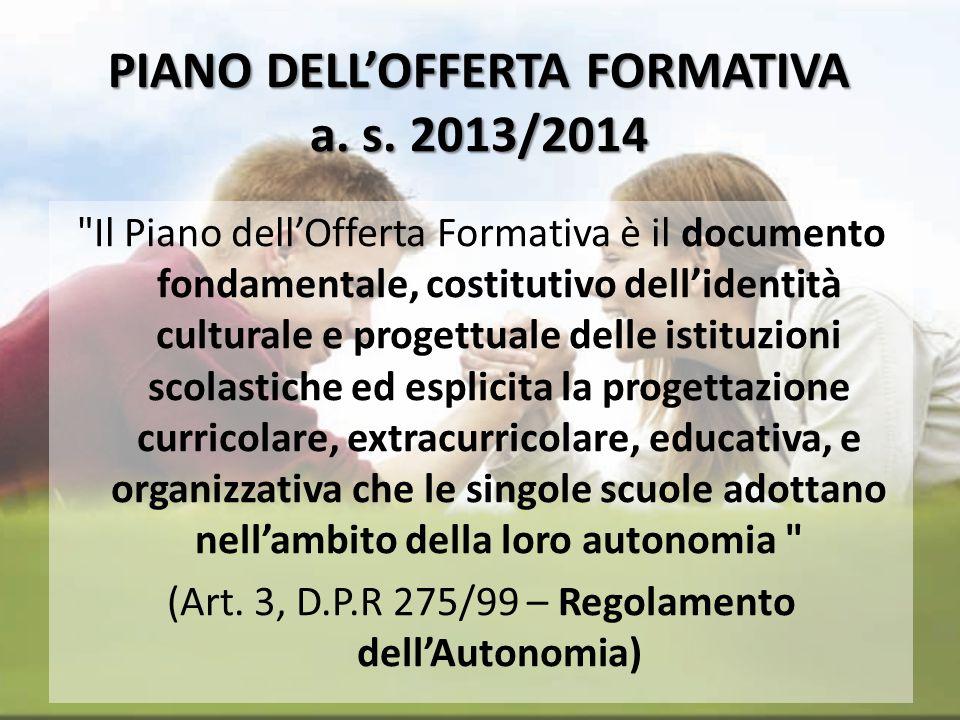PIANO DELL'OFFERTA FORMATIVA a. s. 2013/2014