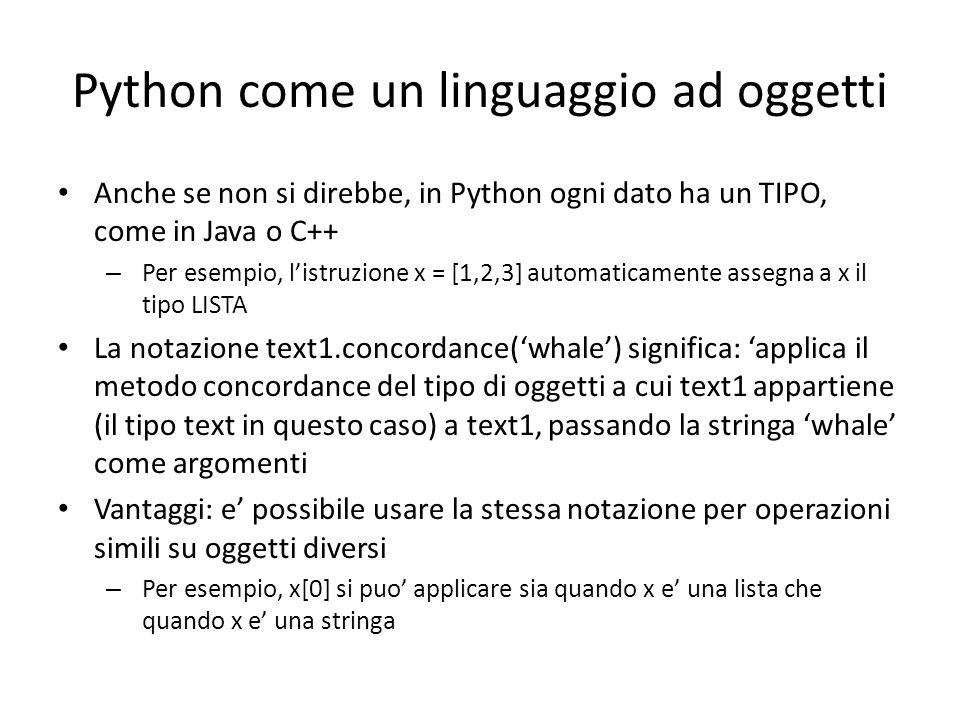 Python come un linguaggio ad oggetti