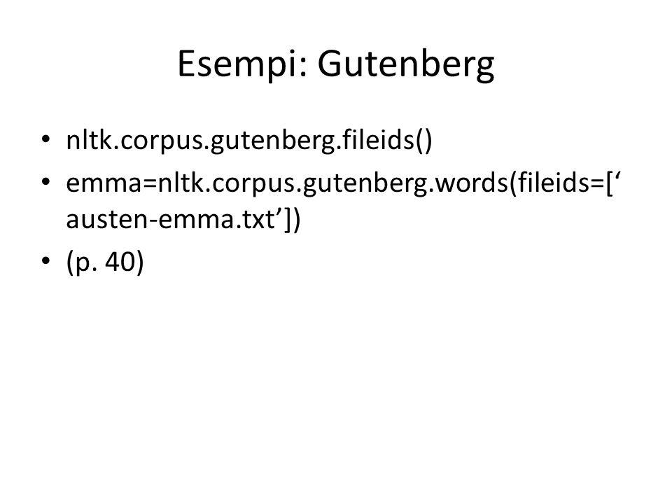 Esempi: Gutenberg nltk.corpus.gutenberg.fileids()