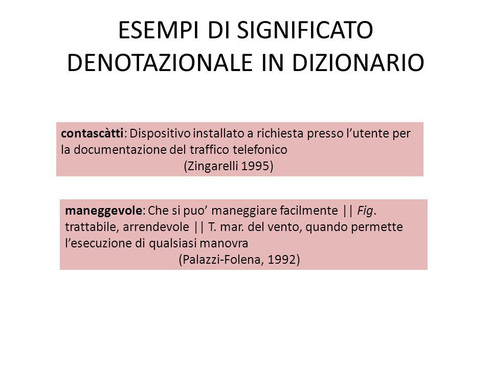 ESEMPI DI SIGNIFICATO DENOTAZIONALE IN DIZIONARIO
