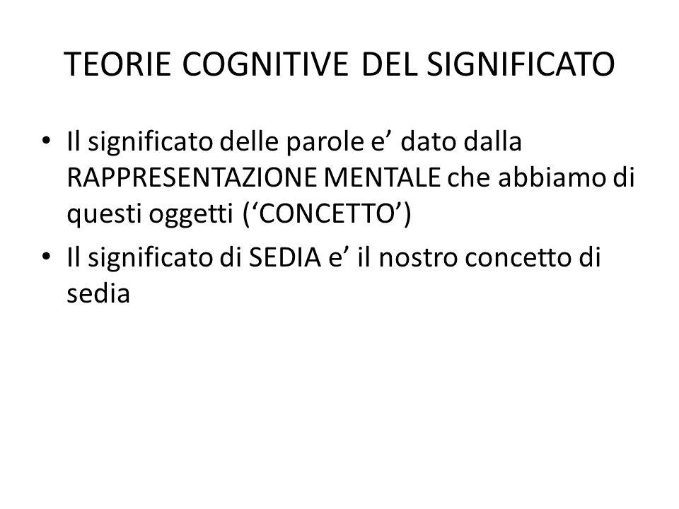 TEORIE COGNITIVE DEL SIGNIFICATO