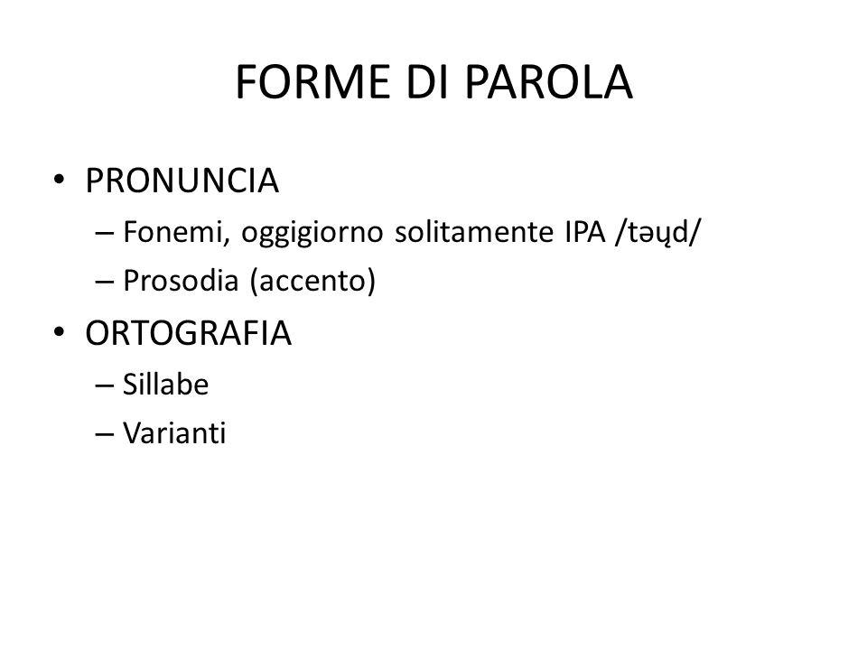 FORME DI PAROLA PRONUNCIA ORTOGRAFIA
