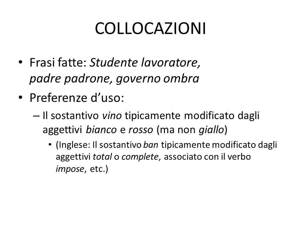 COLLOCAZIONI Frasi fatte: Studente lavoratore, padre padrone, governo ombra. Preferenze d'uso: