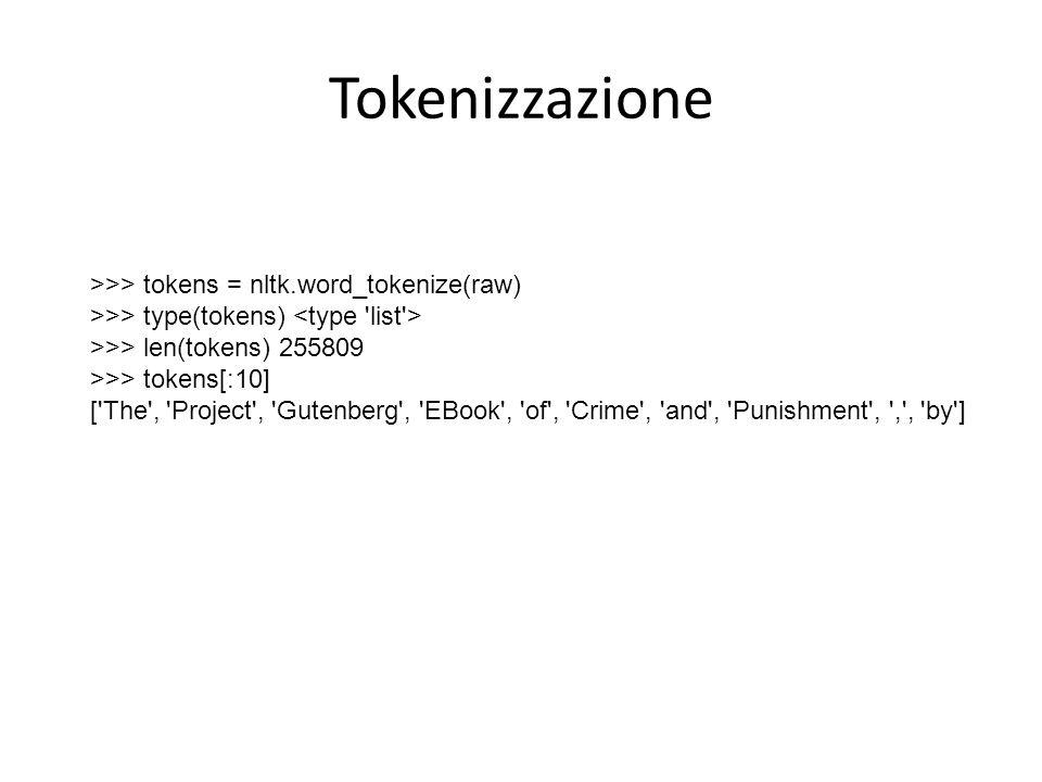 Tokenizzazione >>> tokens = nltk.word_tokenize(raw)
