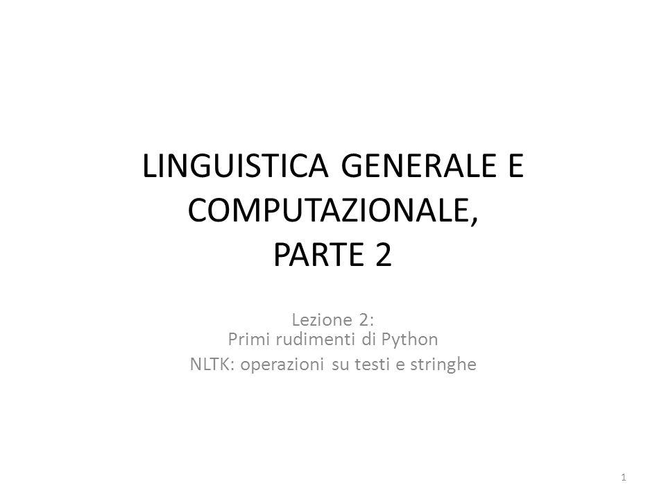 LINGUISTICA GENERALE E COMPUTAZIONALE, PARTE 2