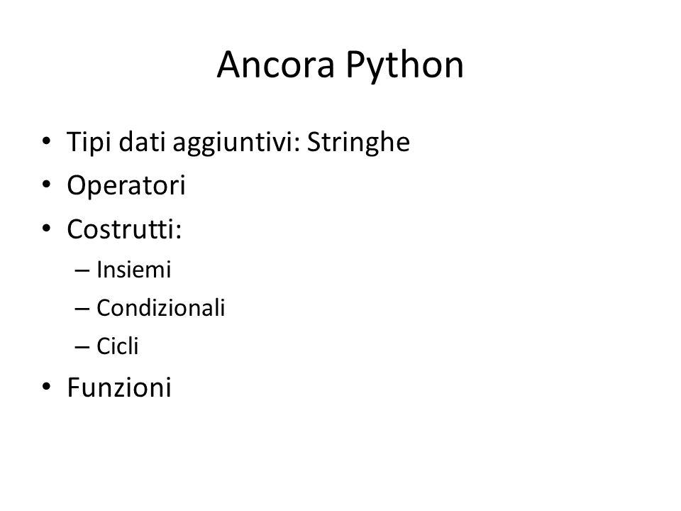 Ancora Python Tipi dati aggiuntivi: Stringhe Operatori Costrutti: