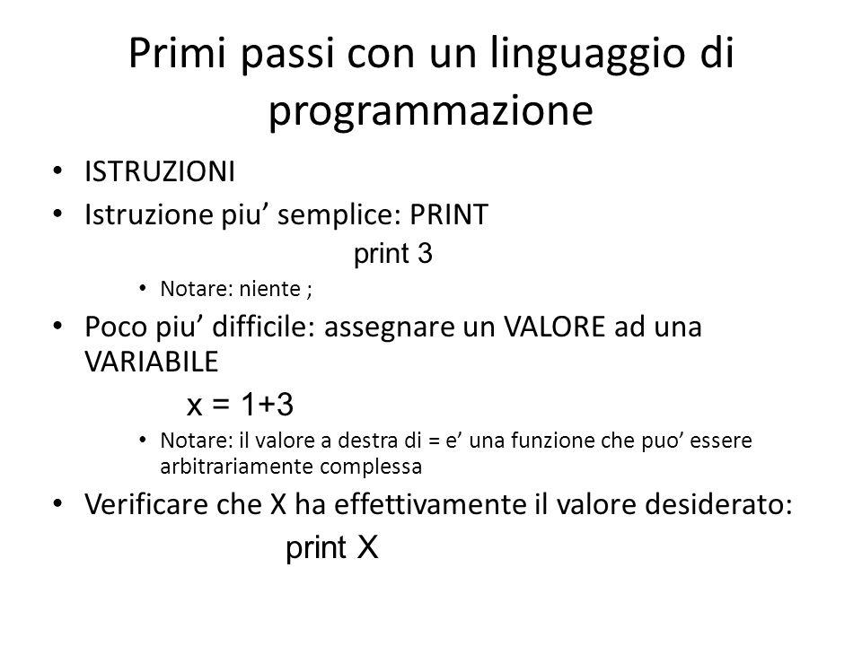 Primi passi con un linguaggio di programmazione
