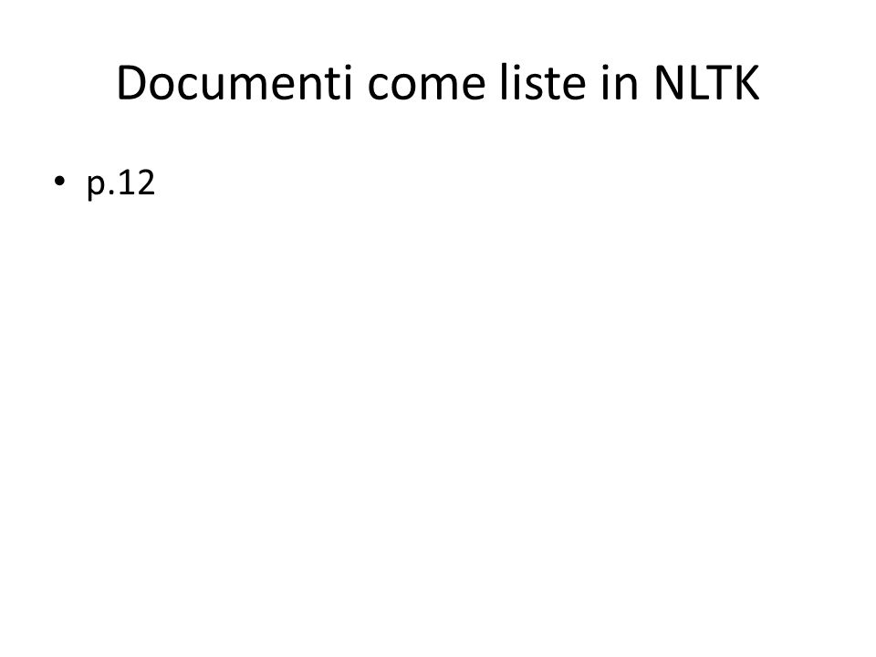 Documenti come liste in NLTK