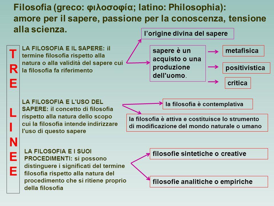 TRE LINEE Filosofia (greco: φιλοσοφία; latino: Philosophia):
